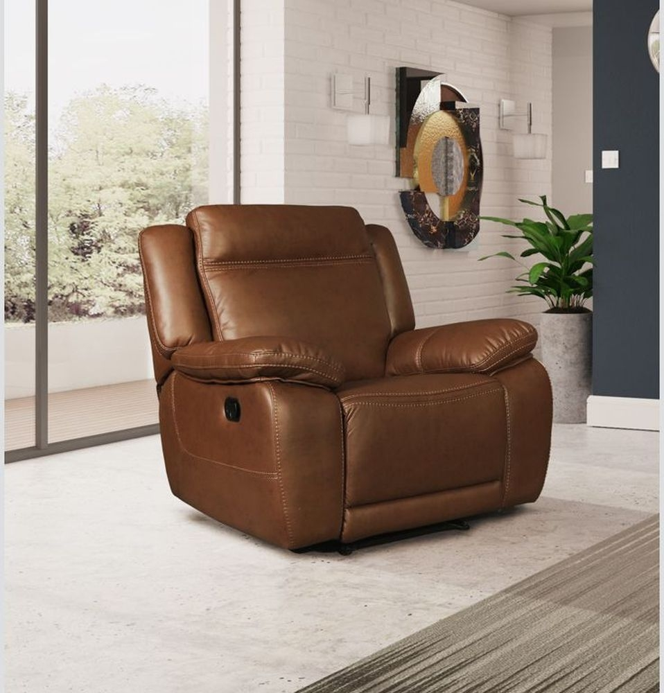 Cheshire Tan Leather Recliner Armchair