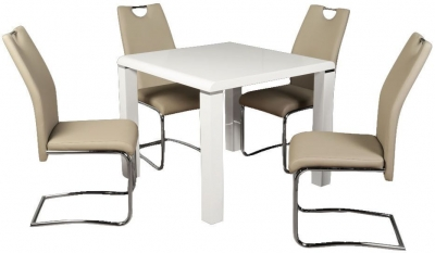 Clarus White Square Dining Table and 4 Claren Khaki Chairs