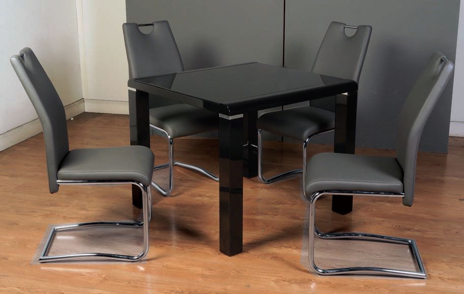 Clarus Black Dining Table and 4 Claren Grey Chairs