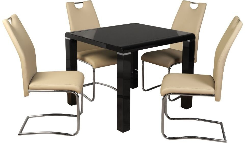 Clarus Black Dining Table and 4 Claren Khaki Chairs