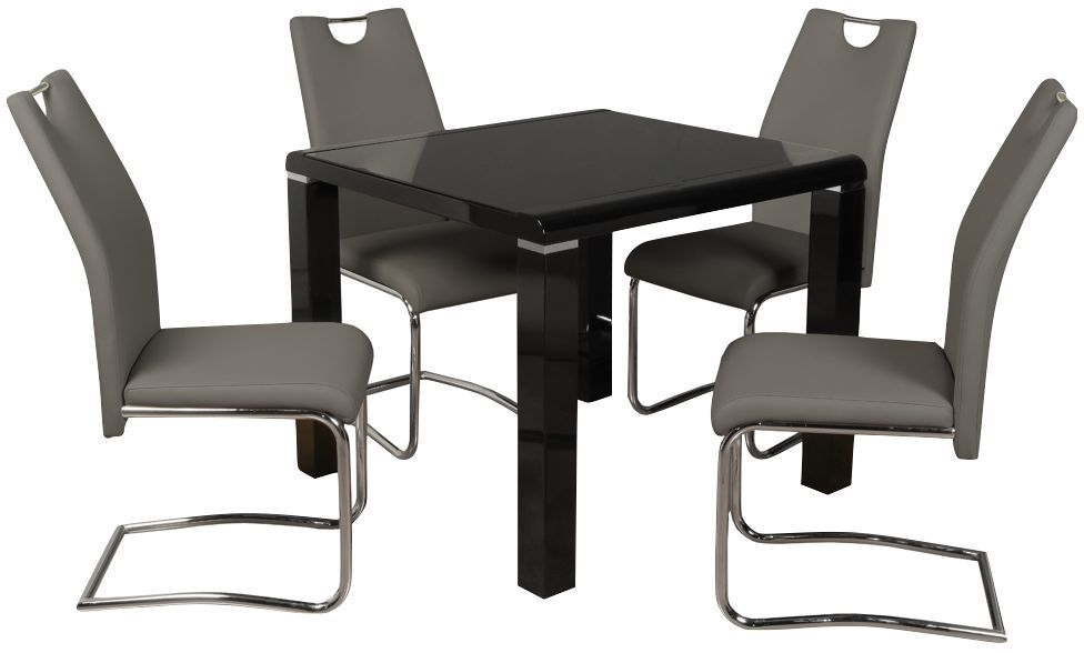 Clarus Black Square Dining Table and 4 Claren Grey Chairs