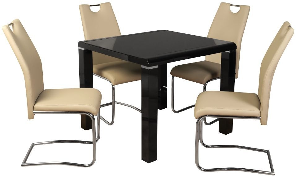 Clarus Black Square Dining Table and 4 Claren Khaki Chairs