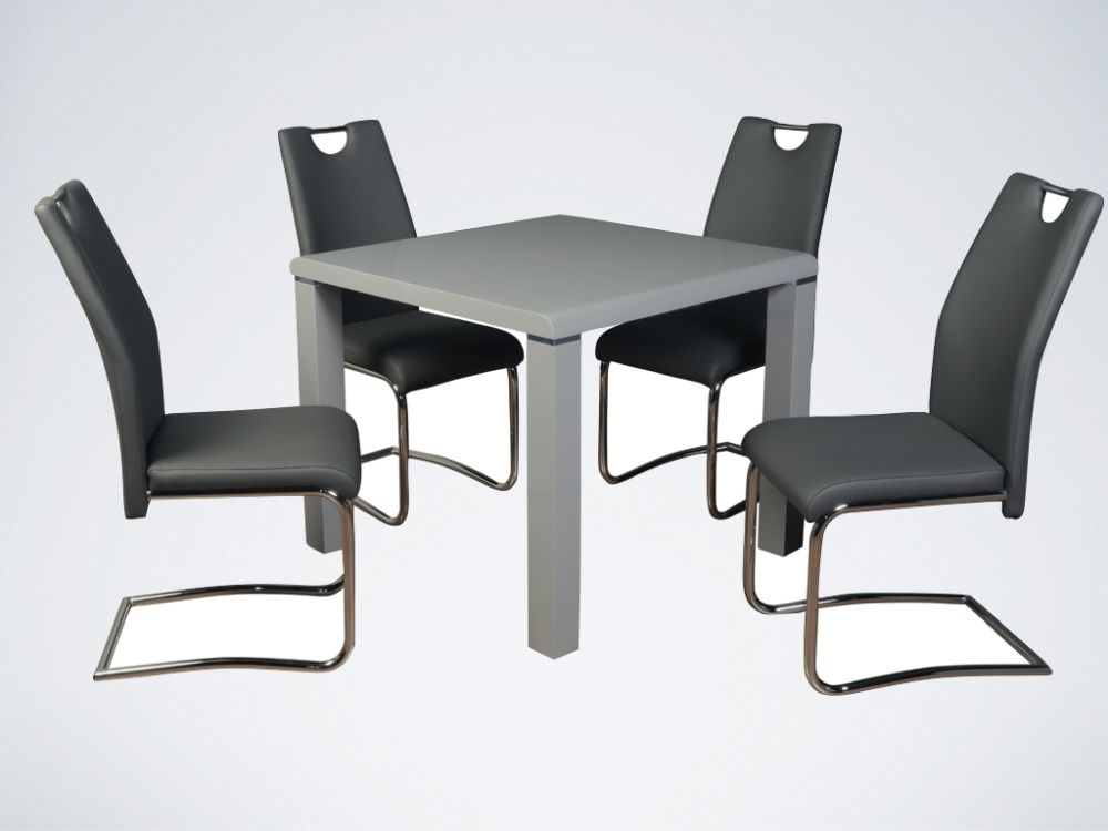 Clarus Grey Square Dining Table and 4 Claren Grey Chairs