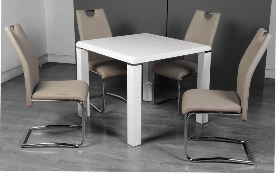 Clarus White Dining Table and 4 Claren Khaki Chairs