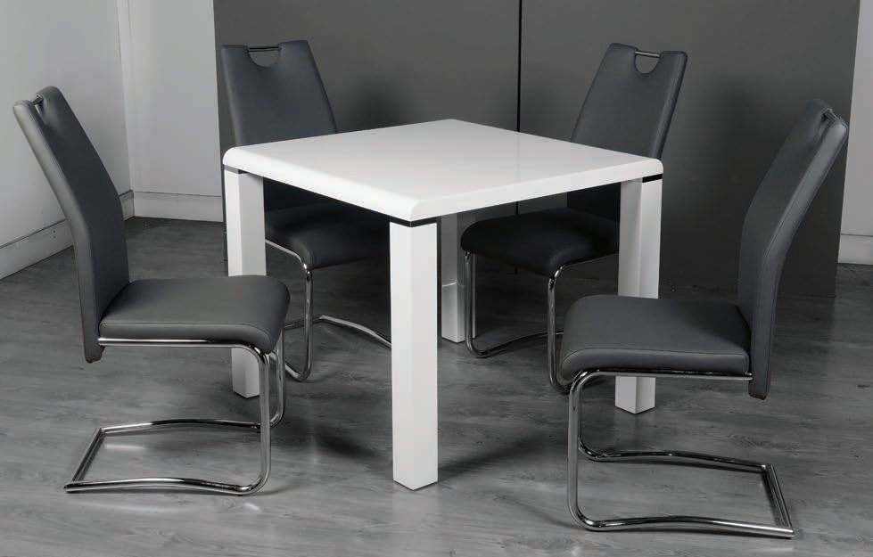 Clarus White Square Dining Table and 4 Claren Grey Chairs