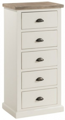 Clearance - Santorini Stone Painted 5 Drawer Tall Chest - New - FS1023