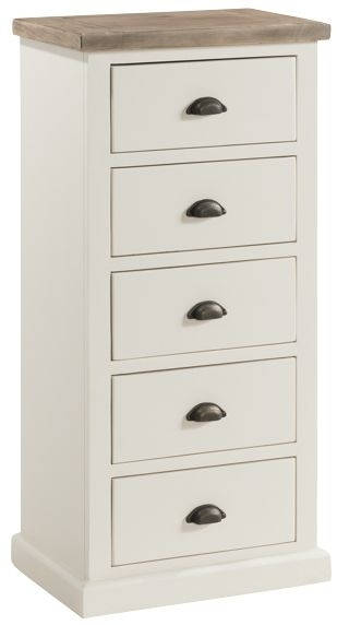Clearance - Santorini Stone Painted 5 Drawer Tall Chest - New - E-461
