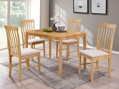 Cologne Light Oak Dining Table and 4 Chairs