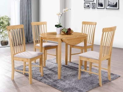 Cologne Light Oak Round Drop Leaf Dining Table and 4 Chairs