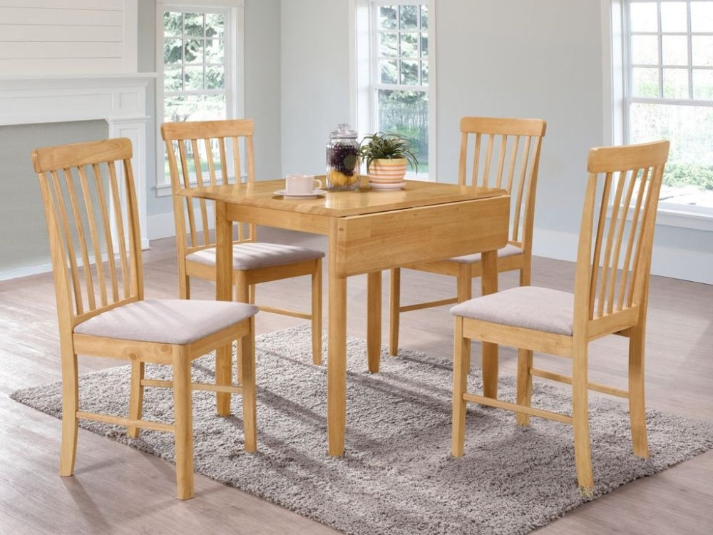 Cologne Light Oak Square Drop Leaf Dining Table and 4 Chairs
