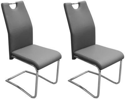 Claren Grey Faux Leather Dining Chair (Pair)