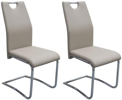 Claren Khaki Faux Leather Dining Chair (Pair)