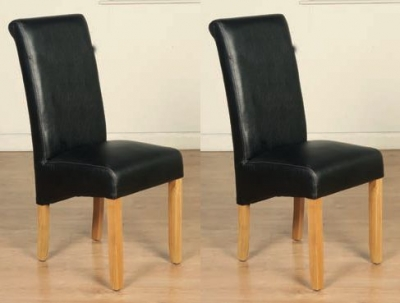 Sophie Black Faux Leather Dining Chair (Pair)