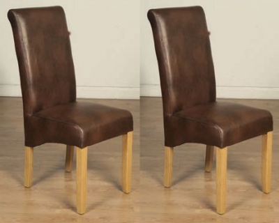 Sophie Tan Faux Leather Dining Chair (Pair)