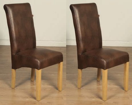 Product photograph showing Sophie Tan Faux Leather Dining Chair Pair