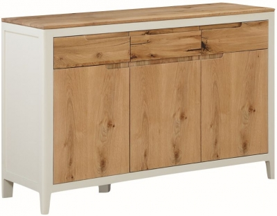 Dunmore Oak and White Painted 3 Door Sideboard