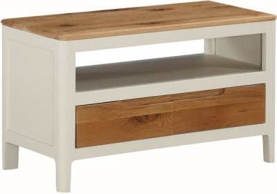 Dunmore Oak and White Painted TV Unit