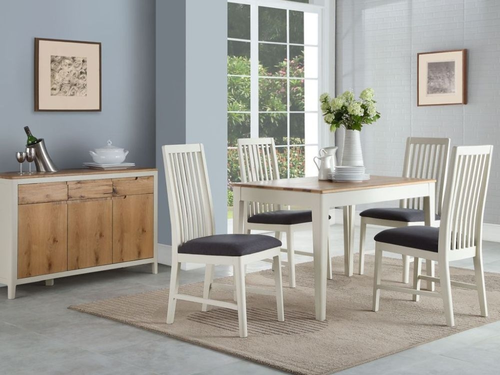 Dunmore Oak and White Painted Dining Table and 4 Chairs
