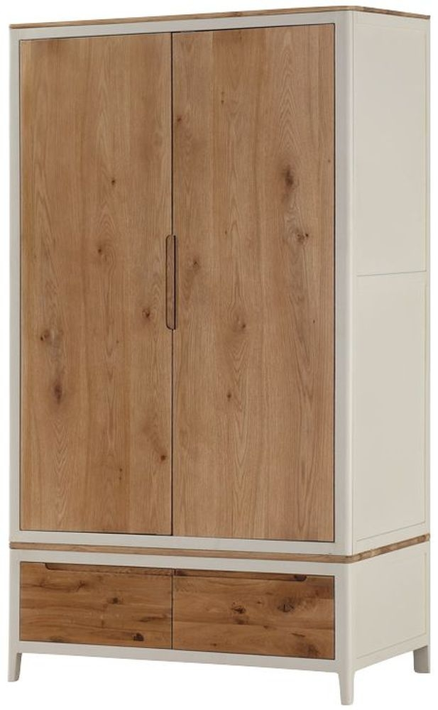Dunmore 2 Door Wardrobe - Oak and Spanish White Painted