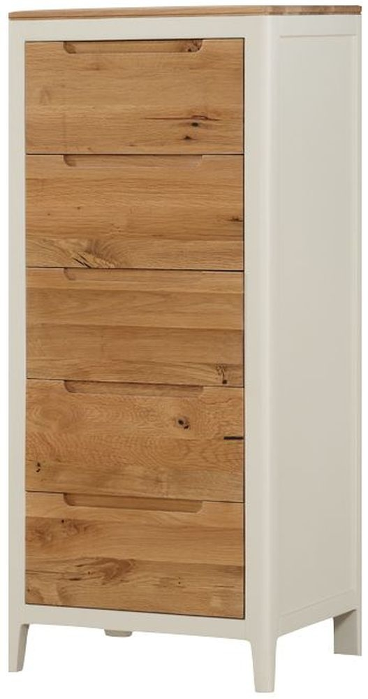 Dunmore 5 Drawer Chest - Oak and Spanish White Painted