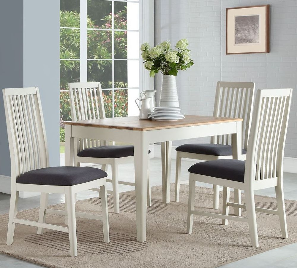 Pleasant Dunmore Dining Table And 4 Chairs Oak And Spanish White Painted Beutiful Home Inspiration Xortanetmahrainfo