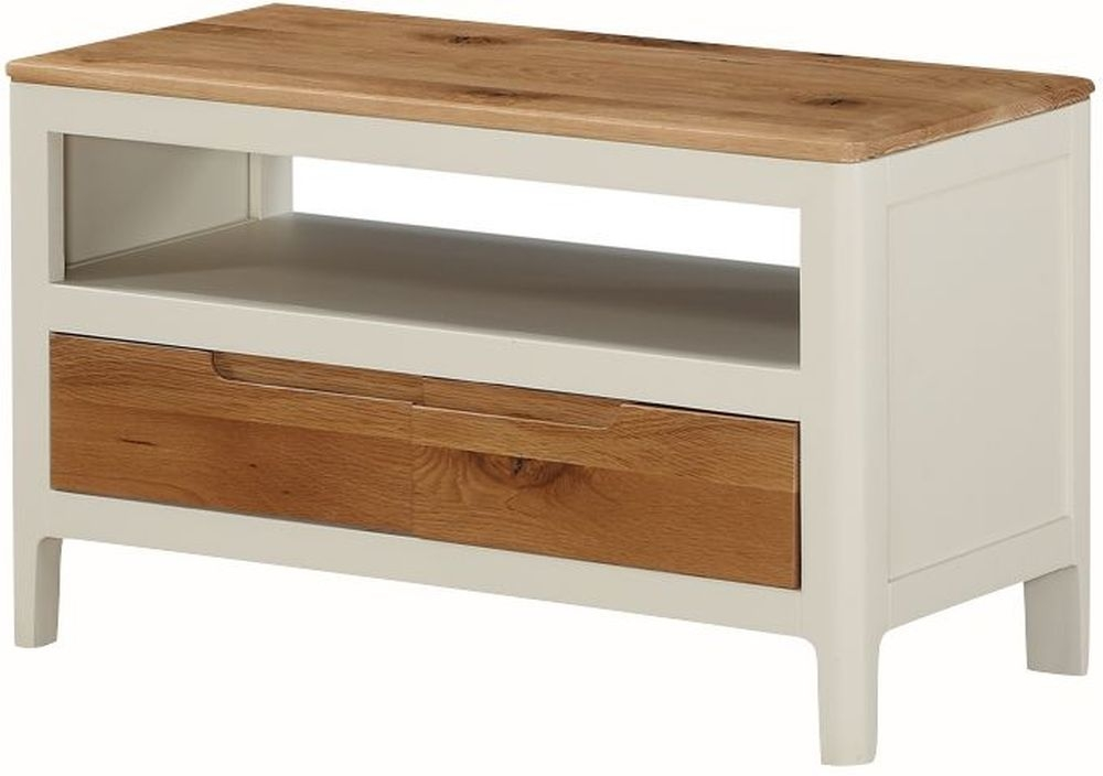 Dunmore TV Unit - Oak and Spanish White Painted
