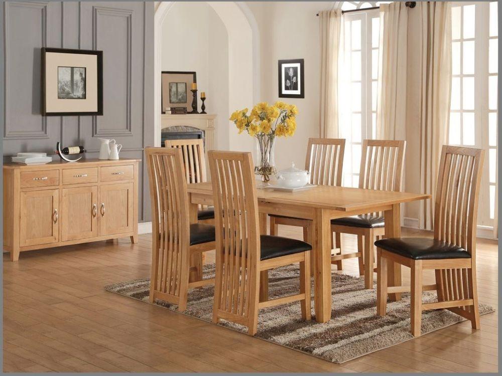 Ellington Oak Dining Set - 5ft Extending Butterfly