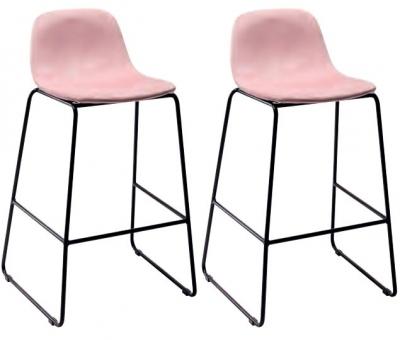 Emporia Blush Pink Velvet Fabric Bar Stool (Pair)