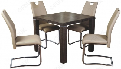 Encore Charcoal Square Dining Table and 4 Khaki Claren Chairs