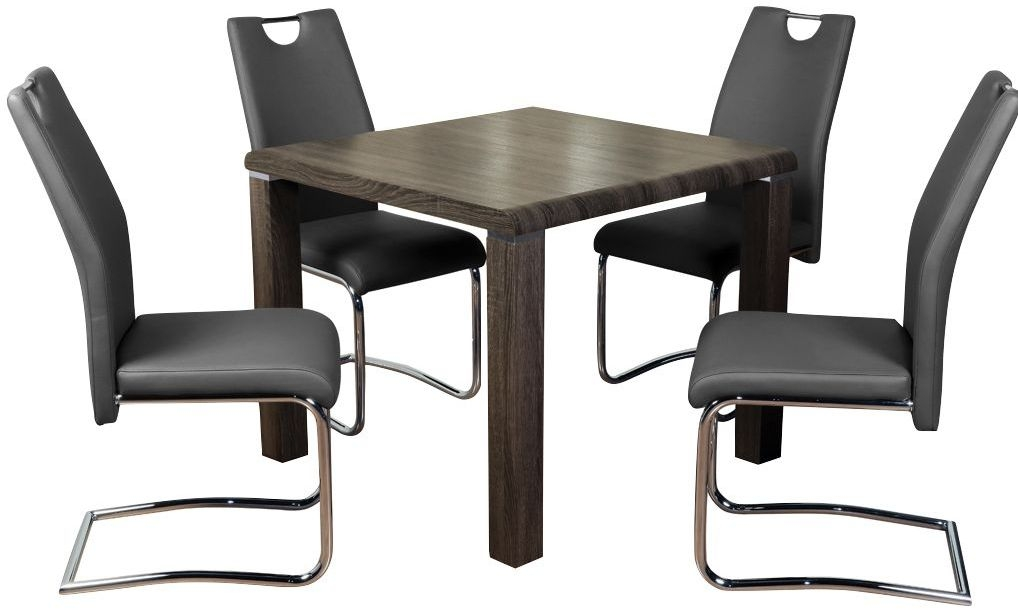 Encore Charcoal Square Dining Table and 4 Grey Claren Chairs