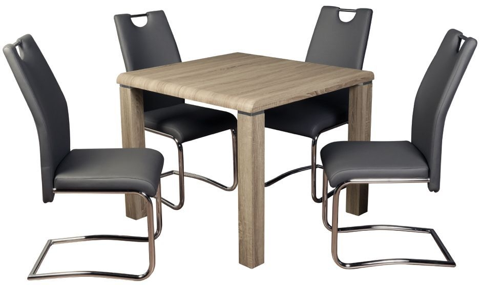 Encore Havana Dark Oak Dining Table and 4 Grey Claren Chairs