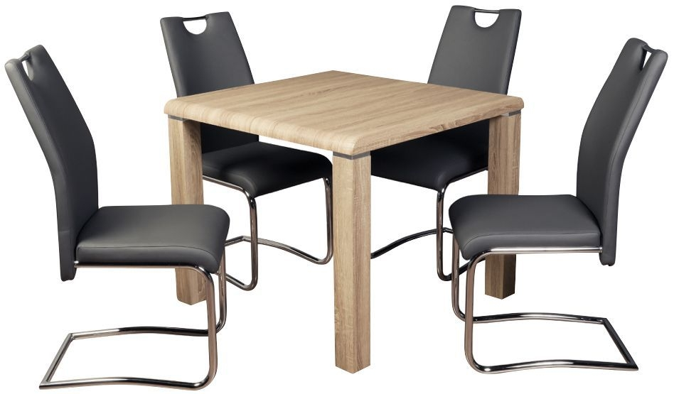 Encore Somoma Oak Dining Table and 4 Grey Claren Chairs