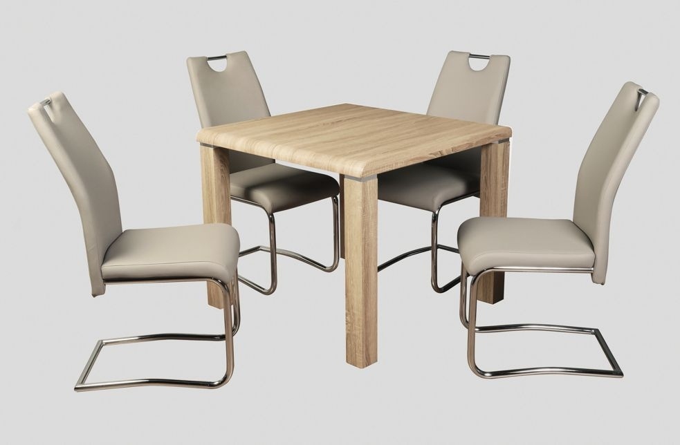Encore Sonoma Oak Dining Table and 4 Khaki Claren Chairs