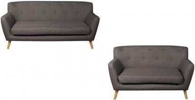 Eton Dark Grey Fabric 3+2 Sofa Suite
