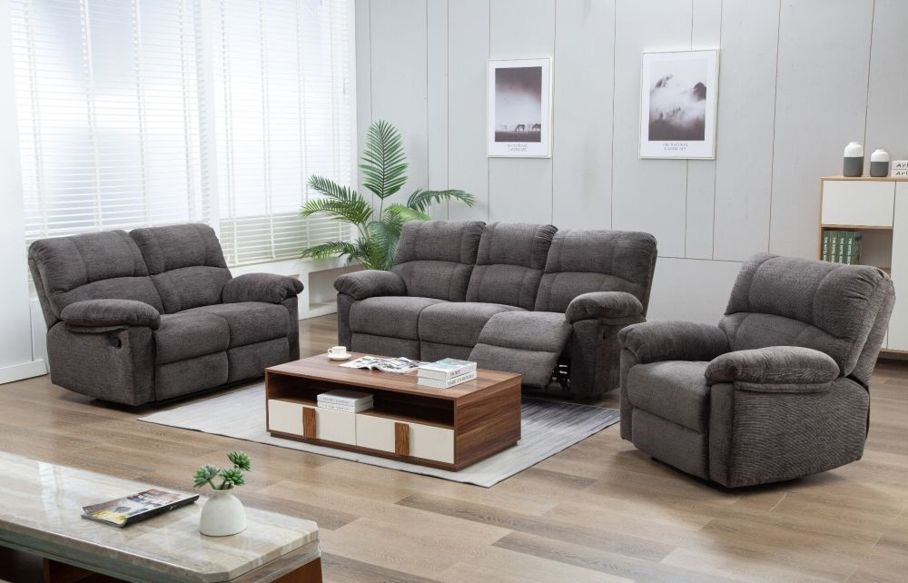 Corby Charcoal Fabric Sofa Suite