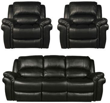 Farnham Black 3+1+1 Sofa Suite