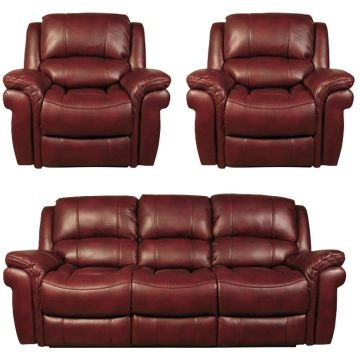 Farnham Burgundy 3+1+1 Leather Sofa Suite