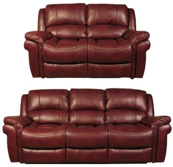 Farnham Burgundy Leather 3+2 Sofa Suite
