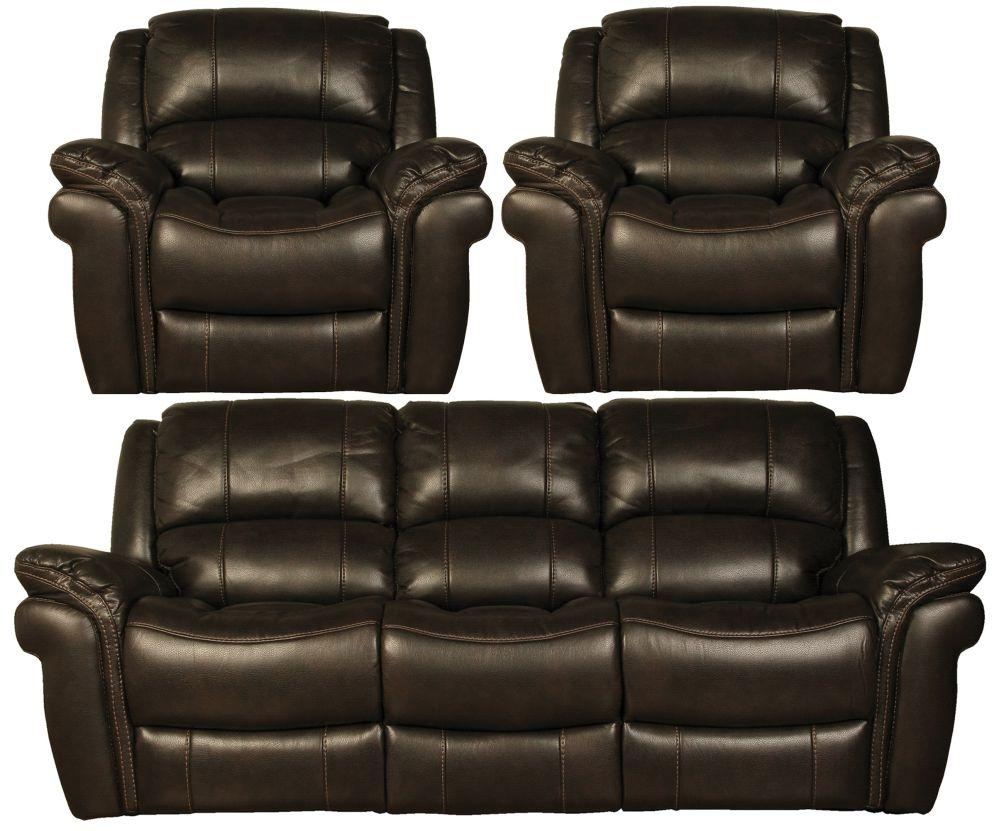 Farnham Chocolate Leather 3+1+1 Sofa Suite