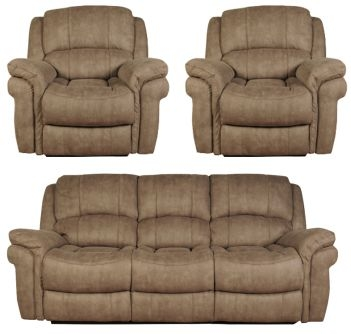 Farnham Taupe 3+1+1 Leather Sofa Suite