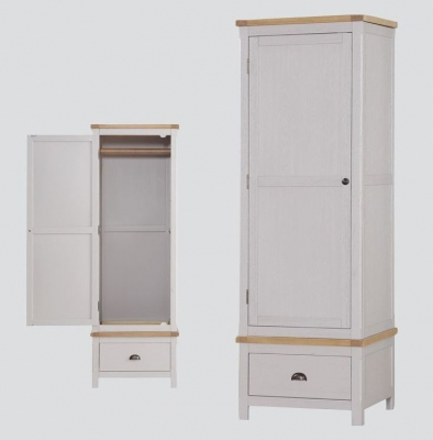 Glenbrook 1 Door Wardrobe - Oak and Grey Painted