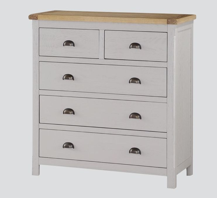 Glenbrook 2+3 Drawer Chest - Oak and Grey Painted