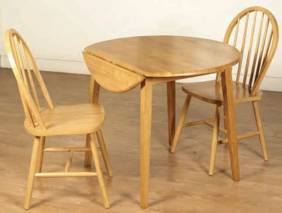 Hanover Light Oak Round Dining Table and 2 Spindle Back Chairs