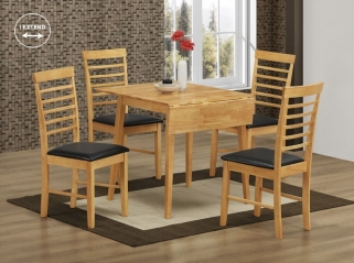 Hanover Light Oak Square Drop Leaf Dining Table and 4 Chairs