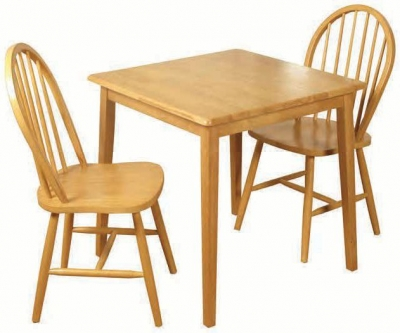 Honeymoon Light Oak Square Dining Table and 2 Spindle Back Chairs