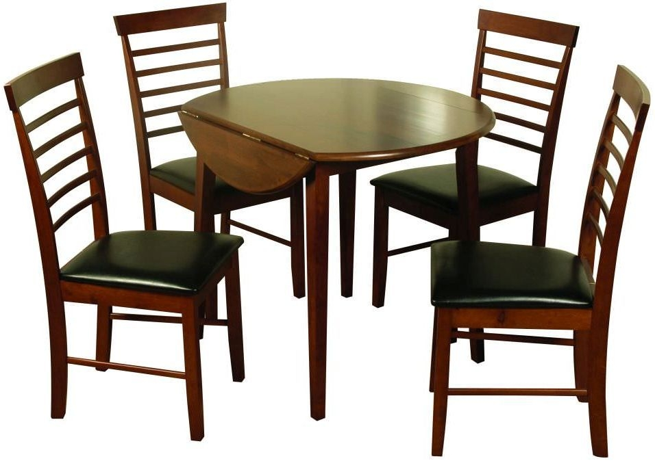 Hanover Dark Round Drop Leaf Dining Set with 4 Chairs - 61cm-91cm