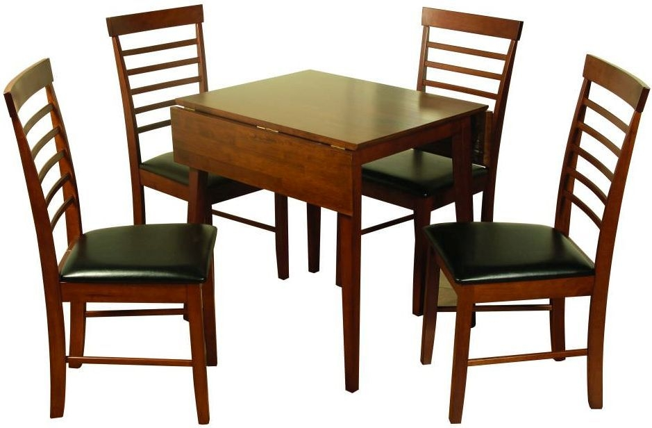 Buy hanover dark dining set square drop leaf with 4 for Square dinette sets