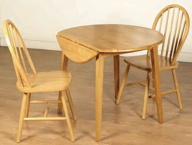 Hanover Round Drop Leaf Dining Set with 2 Spindleback Chairs - 61cm-91cm