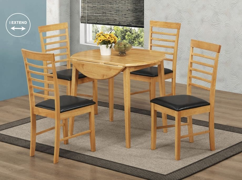 Hanover Round Drop Leaf Dining Set with 4 Chairs - 91cm