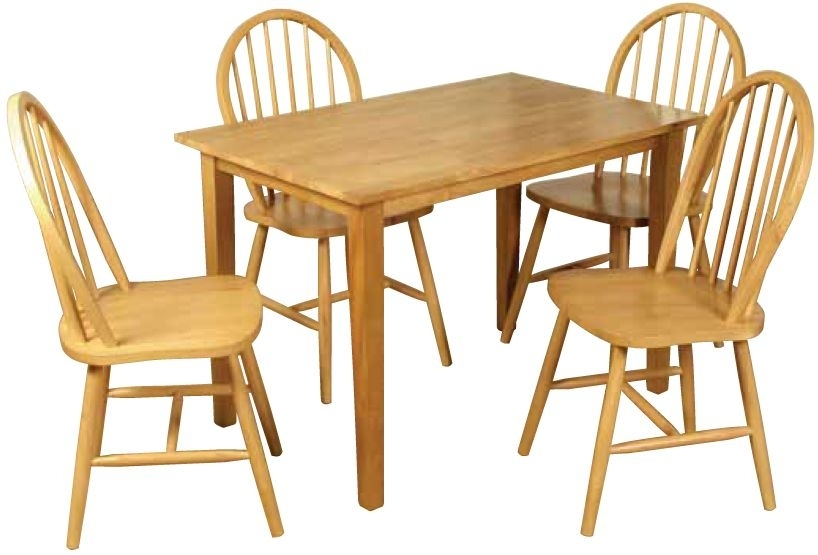 Hanover Rectangular Dining Set with 4 Spindleback Dining Chairs - 110cm